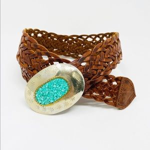 CHICO'S Turquoise Woven Leather Belt M/L Brown